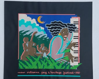Official Silkscreen Poster for the 1987 New Orleans Jazz & Heritage Festival by New Orleans Artist Hugh Ricks