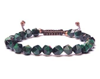 Bead Bracelet Men - Green Tiger Eye Beaded Bracelet for Men - Adjustable bracelet - Men's Jewelry - Men's Bracelets - For Man - For Him