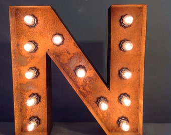 """12"""" Vintage Marquee Light Letter N (rustic) 12"""" Free Shipping"""