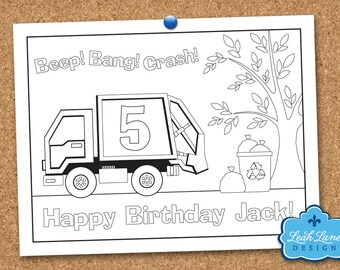 Garbage Truck, Recycle Truck, Kids Birthday Party, Personalized Printable Coloring Sheet, Coloring Page, Party Favor, Printable Party Game
