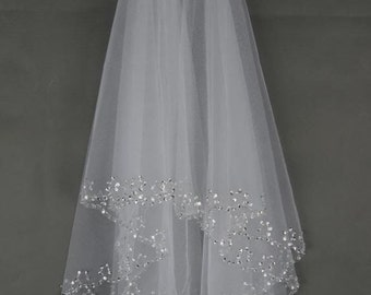 Sequin and bead edge elbow length wedding veil, diamond white or white, two tier, cheap, with attached comb
