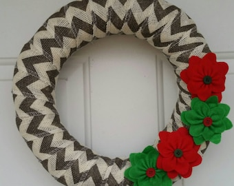 Christmas Wreath / Chevron Christmas Wreath / Burlap Christmas Wreath / Burlap Wreath / Chevron Wreath / Red and Green Wreath