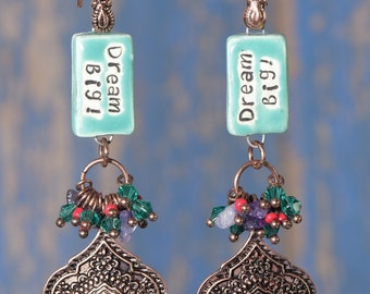 Turquoise Ceramic Jewel Tones Crystal Clusters Copper Boho Chic Artisan Earrings