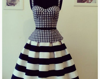 CHERRY PEPLUM Black and white Vichy bustier top,fifties style bustier,peplum top,bustier peplum top