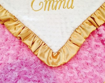 Gold and Pink Minky Baby Blanket, Hot Pink and Gold Minky Blanket for Baby Girl,