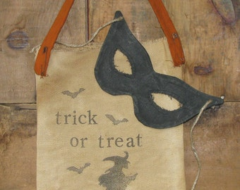 Grungy Halloween Trick or Treat Bag Wallhanging -     Ready to Ship