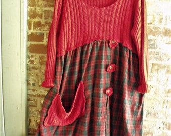Red Upstyled Dress/ Rosy Red Sweater/ Madras Plaid Skirt/ Funky Christmas Frock/ Plus Size Dress/ Romantic Holiday Wear/ Sheerfab Handmade