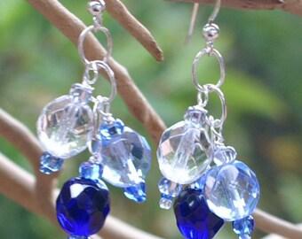 Blue Crystal Hanukkah Channukah Earrings