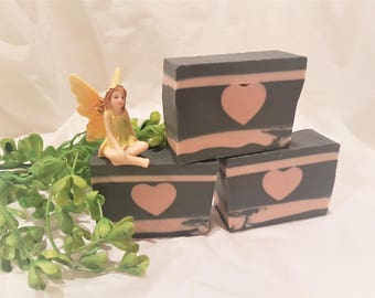 Tea Tree, Pink and black heart, Valentine's day gift soap, natural clay activated charcoal face soap, detox bar, layered soap, gift for her