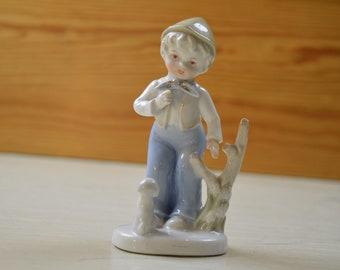 Vintage ceramic Small Boy with a dog figurine, porcelain figurine, Handmade, Handpainted   vintage item