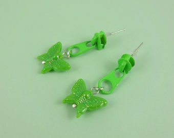 Green Zip Earrings, Green Butterfly Earrings - repurposed zippers, upcycled earrings, retro 1980s 80s, lime green zips, Harajuku Decora