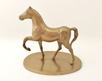 Brass Horse Statue - Horse Figurine - Gold Horse Art - Gift for Horse Lover Equestrian Decor Vintage Brass Figurines - Stallion Thoroughbred