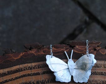 Beautiful butterfly necklace in recycled silver