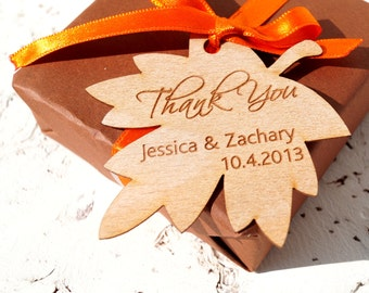 Wedding favor tags, personalized wedding favor tags, rustic leaf wedding gift tags, fall wedding favor tags, custom wood veneer shower tags