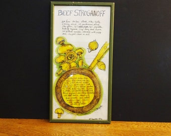 Soovia Janis Mid Century Kitchen Print - Beef Stroganoff - Recipe Print - Hand Decorated by Jacque - 1974 - Colorful  Kitchen Wall Art