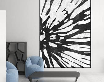 extra large wall art, black and white original painting,  Acrylic painting, canvas art,  art for big wall, Contemporary Painting
