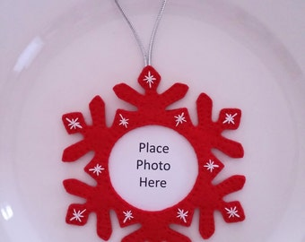 Snowflake Photo Insert Customize Color Felt Christmas Handmade Ornament
