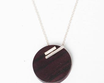 Necklace 'Smart' wood precious / silver model /metal/ violet wood