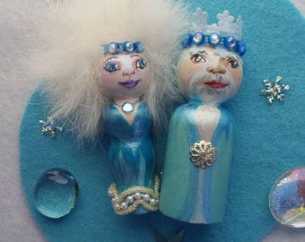 Peg doll Winter King and Queen, Seasonal dolls