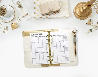 Personal 2018 Monthly printed planner calendar - Mo2P - month on 2 page - monthly calendar - Personal Wide
