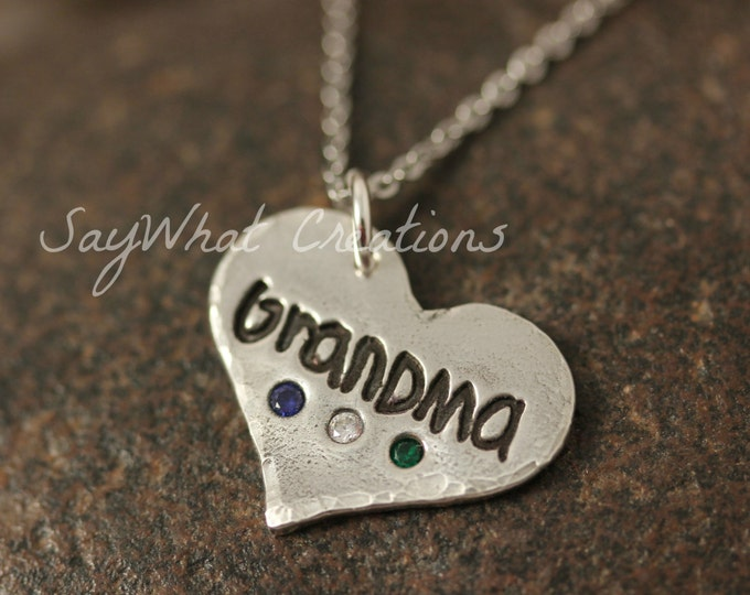 Silver Necklace made from ACTUAL  Handwriting with Embedded Birthstones