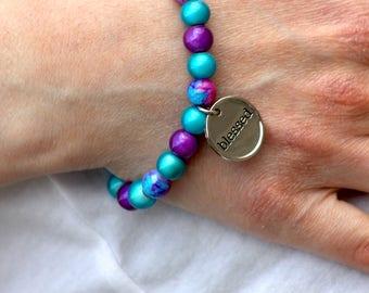 Inspiring beaded bracelet, inspiring beaded jewelry, beaded charm bracelet, inspiring Christian bracelet, religious, inspirational, gift her