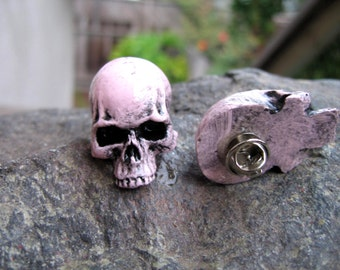 Pale pink skull lapel pin, pink colored stone skull jewelry, gothic accessory