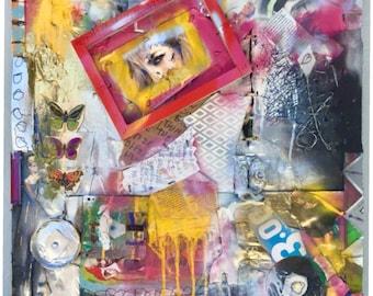 Handmade Reuv Street Art Collage Canvas Painting