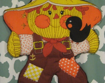 Vintage Scarecrow Quilted Fabric Wall Hanging