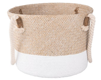 Large Sturdy Woven Basket with Rope Handle in White, Grey and Natural