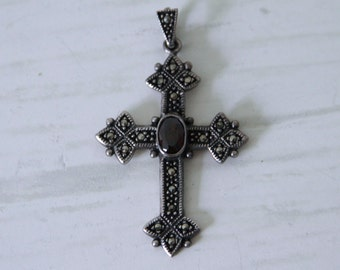 Balinese Garnet and Sterling Silver Cross with Marcasite Pendant Necklace