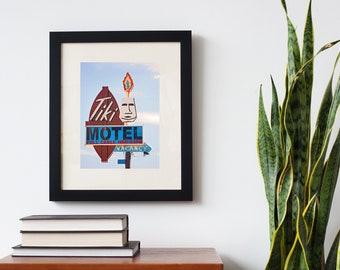 Tiki Motel Neon Sign Print | Tiki Art | Mid Century Modern Art | Tucson Arizona | Motel Sign | Tucson Art | Tiki Decor | Mid Century Decor