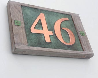"""House number sign in Real copper 3""""/75mm, 4""""/100 mm, with weathered oak frame custom handmade, 2 x nos. shipped worldwide g"""