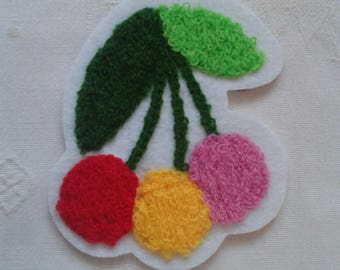 applique, patch, patch, bunch of cherries on white curly wool, stickers, for seamless garment embroidery patch