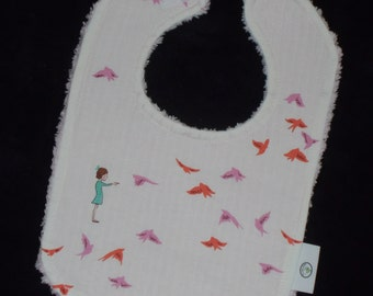Pink With the Birds Chenille Bib - SALE