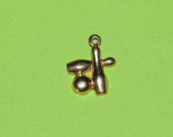 Vintage A.G. 14K Yellow Gold Bowling Charm, Gifts for Her, Gifts for Him, Yellow Gold Charms, Bowling