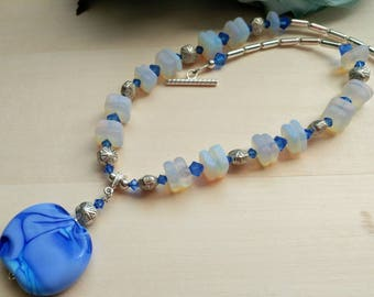 Periwinkle Blue Artisan Lampwork Pendant with Sea Glass and Swarovksi Crystal Necklace