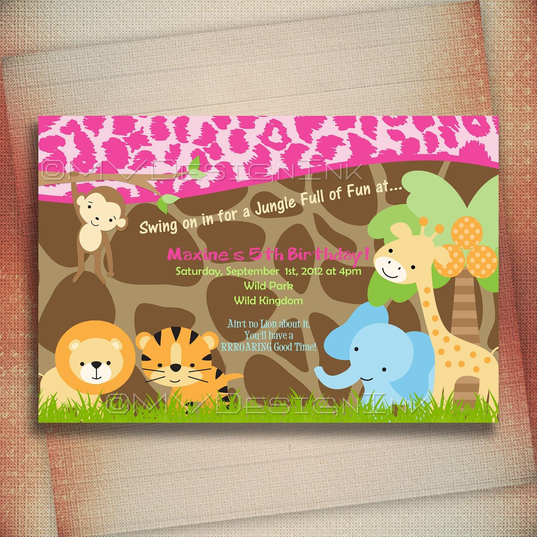 Jungle Safari Birthday Invitation Safari Jungle Invitations