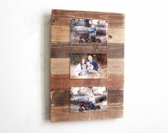 Acrylic photo holder, Rustic picture frame,  Farmhouse picture display, Wedding gift, Farmhouse decor photo,  photo frame, Wood photo holder