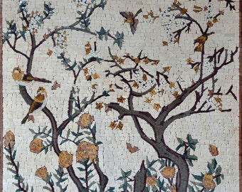 Blooming Tree with Birds Marble Mosaic