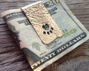 Reycyled sterling silver money clip hammered featuring a cut out 'heart paw'
