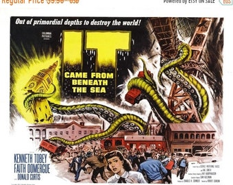 Spring Sales Event: It Came From Beneath The Sea Movie Poster RARE Sci-Fi Monster Movie