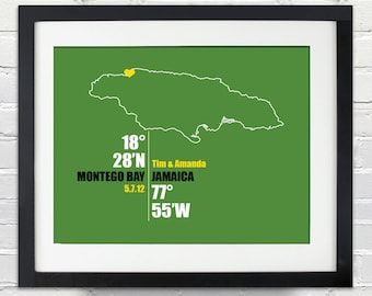 Jamaica Coordinate Personalized Wedding or Anniversary Gift, Map Print or Canvas, Bridal Shower Gift Ideas, Bride and Groom Names
