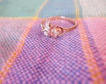 Sweet Vintage 10K Gold Rose and Leaves Motif Ring Size 6 1/2