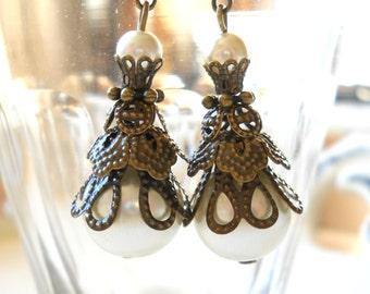 white pearl victorian earrings pearl earrings brass filigree earrings pearl earrings beaded earrings white pearl earrings