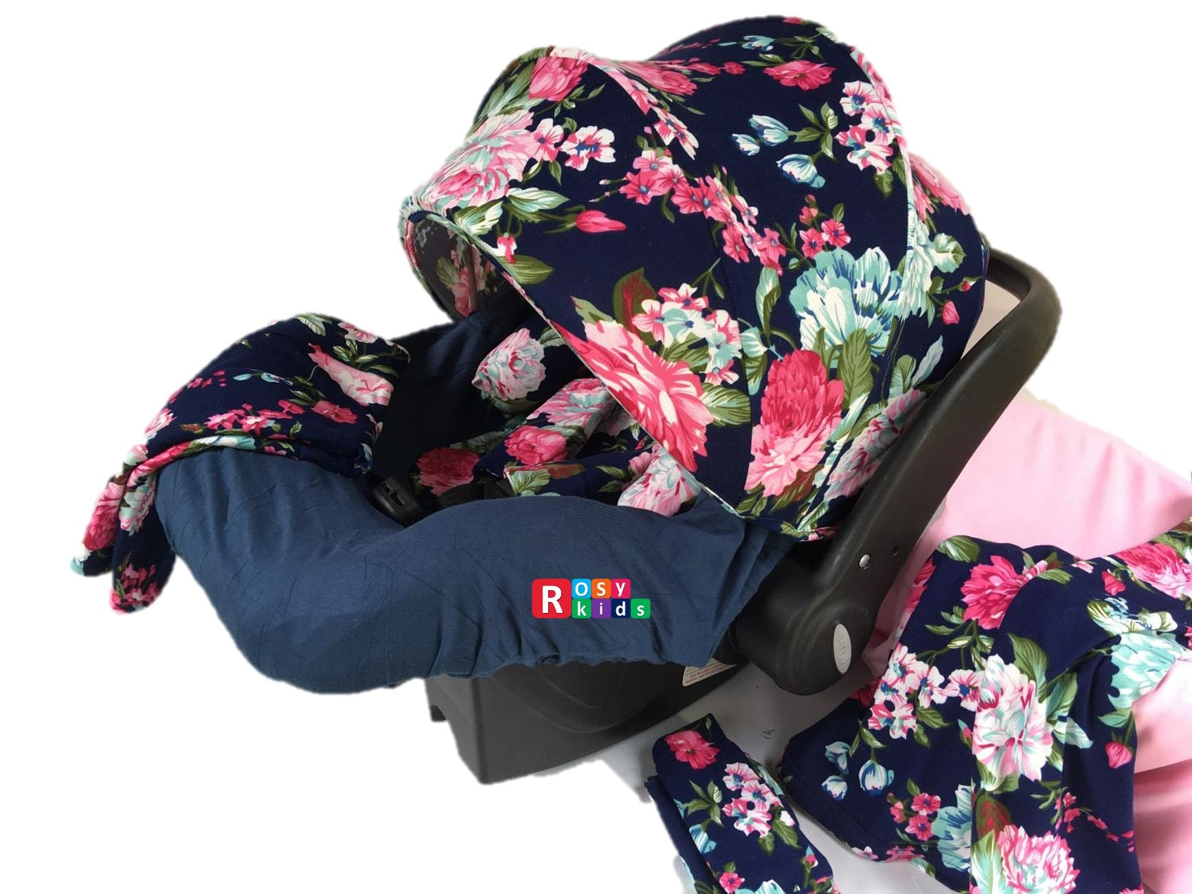 9pc Baby Boy Baby Girl Ultimate Set of Infant Car Seat Cover Canopy ...