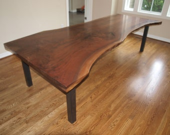 Live Edge Walnut Table with steel Base