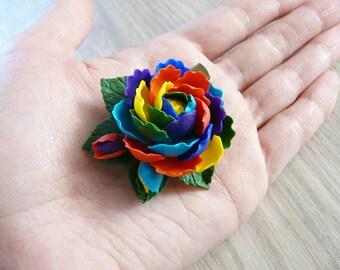 Rainbow peony brooche/barrette, polymer clay peony, flower brooche, realistic flower brooche, rainbow flower, rainbow jewelry, hair flowers.