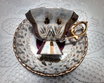 Vintage Lustreware Tea Cup and Reticulated Saucer by Royal Sealy, Footed Cup, Wheat, Ruby and Gold, Mid Century, Circa 1950s