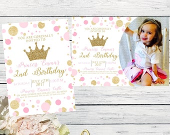 Princess Birthday Invitation Pink and gold glitter add a photo option ****digital file *** DIY Print (Princess-Polkapic)